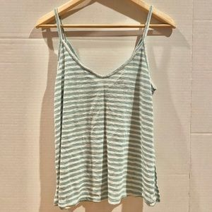 Forever21 Striped White and Teal Flowy Tank Top